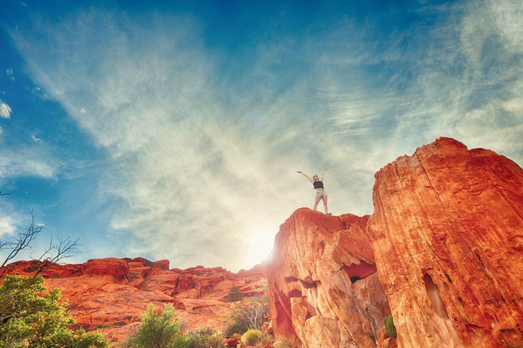 Willpower training - girl on mountain top